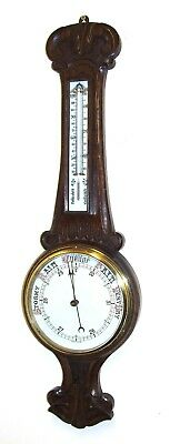 Antique Carved Oak Aneroid Banjo Barometer & Thermometer : PATENT No 16538 (b21)