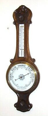 Antique Carved Oak Aneroid Banjo Barometer & Thermometer : Milk Glass Dial  b88