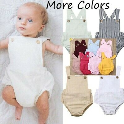 Toddler Baby Kids Girls Boys Sleeveless Solid Stripe Romper Sunsuit Clothes