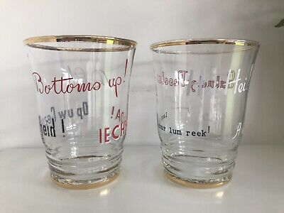 Pair Mid Century 50s Beer Glasses Kitsch Languages Gold Gild Rim And Bass
