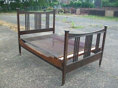 Antique Solid Wood Double Bed -  Arts & Crafts / Art Nouveau