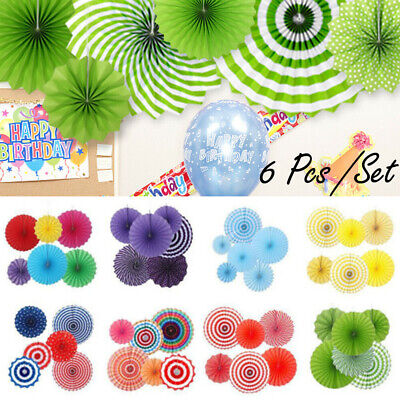 6pc Tissue Paper Fan Flowers Happy Birthday Bunting Banner Garland Party Decor