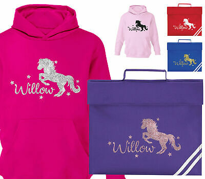Childrens Personalised Horse Riding Hoodie Or Glitter Horses School Book Bag