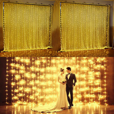300LED Window Curtain Icicle Lights String Fairy Light Wedding Party Home Garden