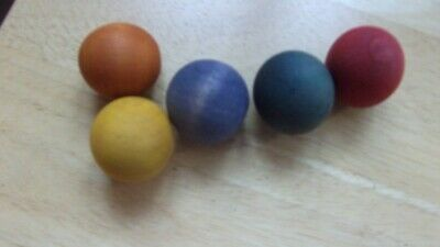 5 x Vintage Old Painted Small Decorative Coloured Wooden Balls  24mm - 26mm each
