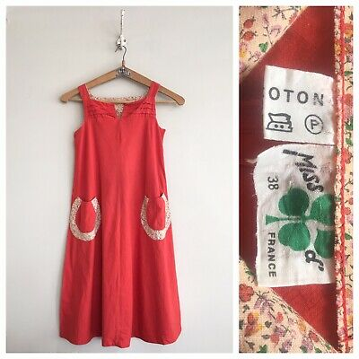 True Vintage 1960s/70s French Red Cotton Dress UK8 10