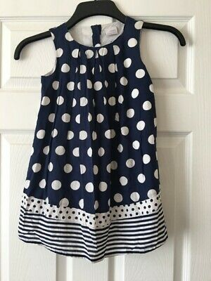 Girls Next Navy Blue White Spotty Striped Casual Summer Dress Age 4-5 Years B40