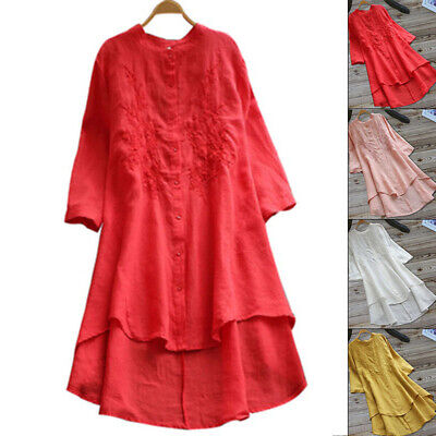 Vintage Women Casual Baggy Cotton Linen Long Sleeve Embroidered Summer Dress New