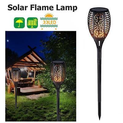 4 Pack Solar Torch Lights 33LED Flickering Lighting Dancing Flame Garden Lamp UK