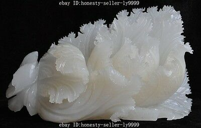 "11"" chinese Natural white jade pure hand-carved wealth lucky rich Cabbage statue"