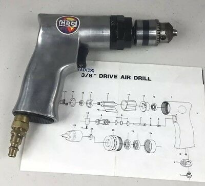 """HDC 3/8"""" Inch Drive Air Drill Tested Working Has Paperwork"""