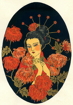 1930s French Pochoir Print Art Deco Asian Motifs Geisha Red Chrysanthemum