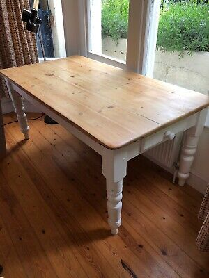 Antique Pine Farmhouse Dining Table with Drawer 170cm X 90cm