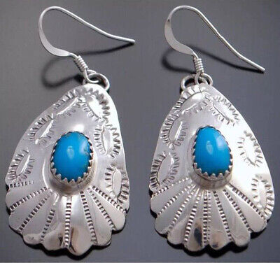 Handmade Fan-shaped 925 Silver Turquoise Wedding Women Hook Dangle Drop Earrings