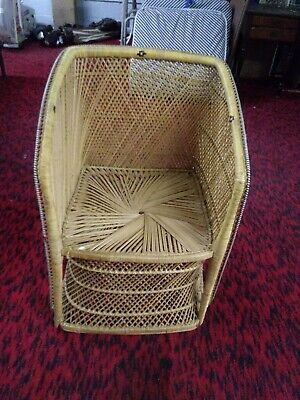 """Vintage wicker chair rattan peacock, barrell back, mid size 32"""" unique rare size"""
