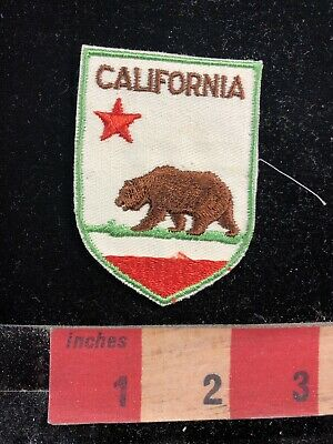Vtg California State Flag Theme Patch - Brown Grizzly Bear On Patch 95Z4