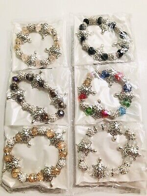 Wholesale Lots 12pcs Mix Color Diamond RhineStone Turtle Style CharmBraceletSet