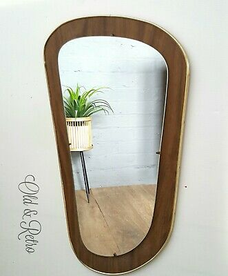 Vintage Retro Teak effect Danish era Mid Century wall hung Mirror 50s 60s
