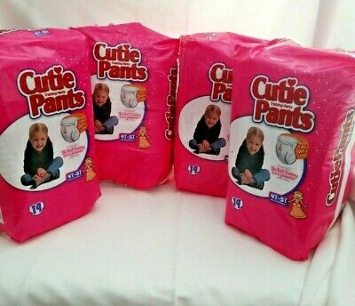 Girls 4T-5T Pull-On Disposable Training Cutie Pants Easy Open-Close 38+Lbs CASE