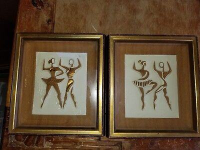 """VTG 60s Turner """"Abstract Ballet Dancers"""" 7 X 8 Wood Wall Accessory - Set of 2"""