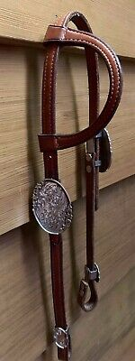 Vintage Sterling Silver Billy Royal Western Arab Show Bridle Headstall w/ Blue
