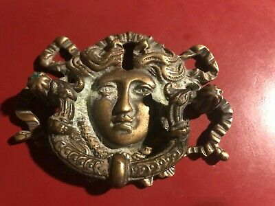 1900s Art Nouveau Figural Brass Drawer Pull