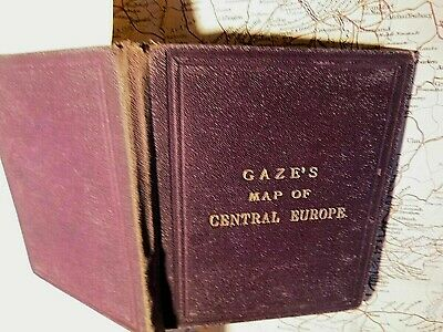 Europe: Gaze's Touring Ticketing Map For Clients-Hard Covers C1870-1890+Steamers