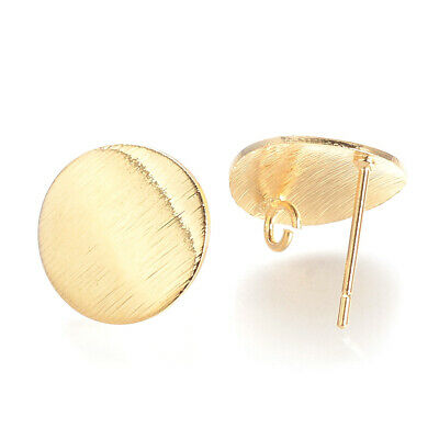 50PCS Brass Ear Stud Earring Findings Flat Round16K Real Gold Plated 15mm