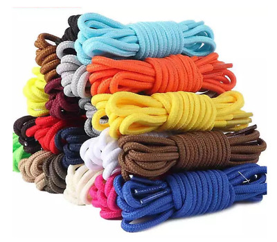 Round Shoelaces 4mm Coloured Sneaker Boot Shoe Laces Trainer Shoestrings