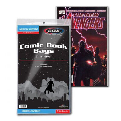 (5000) Bcw Comic Book Thick Current Modern Age 2 Mil Soft Poly Storage Bags