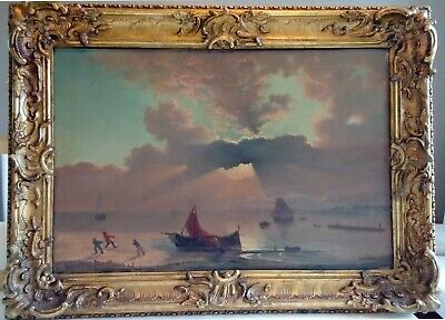 19th LARGE GERMAN PAINTING : AMAZING SEA COAST SUNSET !!