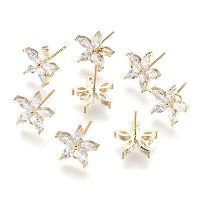 10pcs Brass Cubic Zirconia Ear Stud Earring Findings Real Gold Flower 11.5x12mm