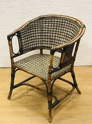 Antique Edwardian Art Deco Rattan Wicker / Cane / Bamboo Armchair By Maple & Co