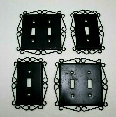 Lot 4 Vintage Ornate Spanish Gothic Metal Switch Plate Covers - Double & Single