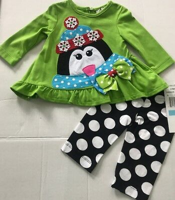 Rare Editions Outfit Girls 2 Pc Christmas Penguin Appliqued 3-6 Months