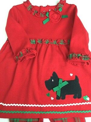 Infant Girls Nursery Rhyme 2 Pc Christmas Outfit Red Ruffles Dog Sz 3 Months