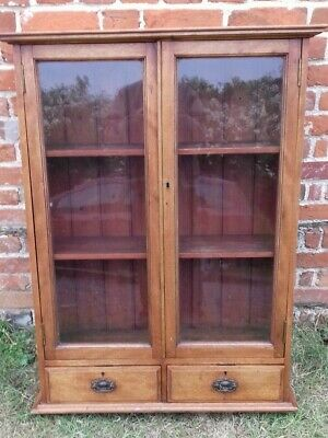 """Small Victorian Mahogany Glazed Two Door Bookcase with Drawers. 31"""" wide"""