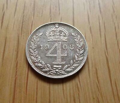 Edward Vii Silver Maundy Fourpence 1908 4D Great Britain Uk