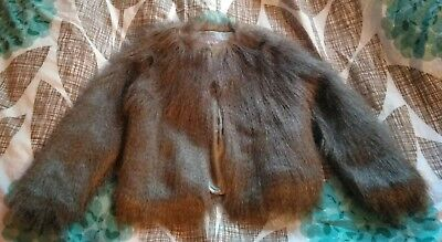 Johnnie b Girl's Brown Faux Fur Coat Age 9-10 Years 9-10 Ans Anos EUR 134-140