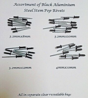 3.2 x 8mm Black Pop Rivets Aluminium/steel Blind Dome Head 25 Of Each Size100PCE