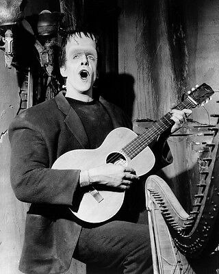 Fred Gwynne 24x36 B&W Poster as Herman Munster playing guitar