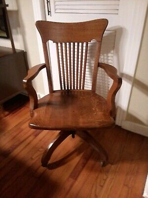 Antique Gunlocke Style Bankers Office Chair-early 1900s