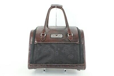 Brighton Black Brocade Brown Leather Trimmed Over Handle Cosmetic Train Bag M600