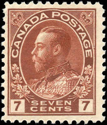 Mint Canada Scott #114 1911-1925 7c King George V Admiral Issue Hinged