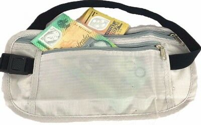 Money Belt Waist Bum Bag Travel Pouch 2 Pocket Passport Wallet Safe Secure