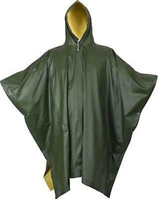 Outback Poncho Heavy Duty Waterproof Nylon PU Coated Olive Adult Rain Cover