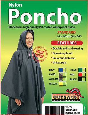 Outback Waterproof Rain Poncho Heavy Duty PU Coated Nylon BLACK Raincoat