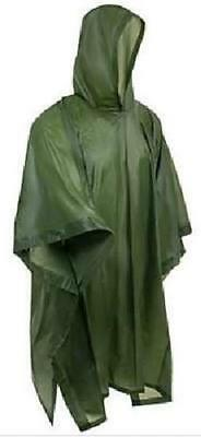 Vinyl Poncho Olive Waterproof Raincover Raincoat Ground Sheet One Size Fits All