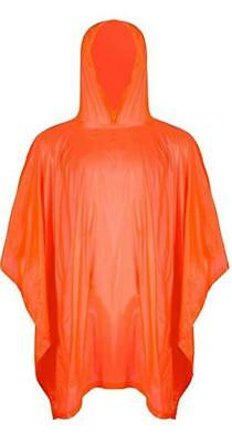 Vinyl Poncho Orange Waterproof Raincover Raincoat Ground Sheet One Size Fits All
