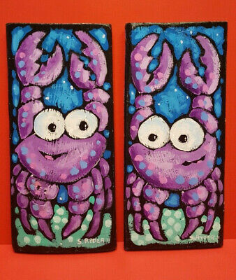 Steve Ryder Original Acrylic Painting on Wood SIGNED 2011 Little Crabs-LOT OF 2